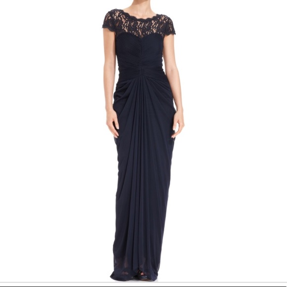 m gown formal bride charcoal papell lace the ornate dress drapes i of drape yoke embellished long mother size neck bridesmaid draped adrianna